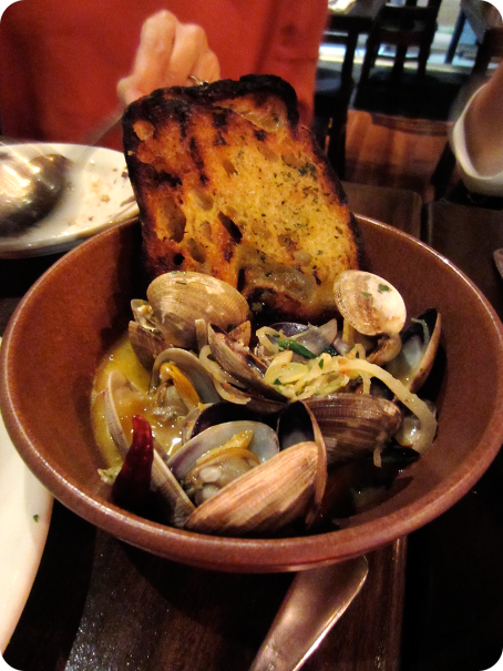 Pan Roasted Clams with Garlic Rubbed Toast